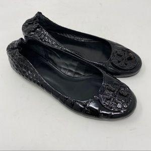 Tory Burch Shoes Reva Flats Patent Croc Leather